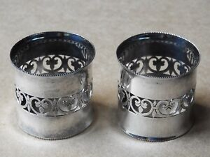 Vintage Set Of 2 Ki Italy Silver Plate Napkin Rings Holders