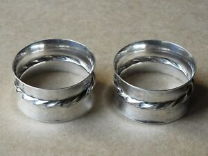 Vintage Set Of 2 Silver Plate Napkin Rings Holders