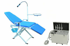 Dental Portable Folding Chair Turbine Unit Suction With Air Compressor 4 Holes