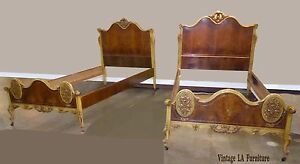 Pair Vintage Italian French Rococo Twin Size Bed Frames Headboards