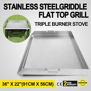 36 X 22 Stainless Steel Griddle Flat Top Grill Kitchen For Triple Bbq Stove