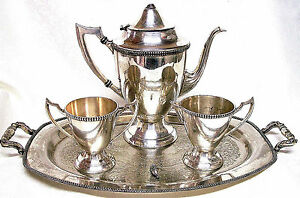 Antique Sheets Rockford 1875 4 Pc Silverplate Coffee Set