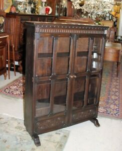 Antique English Wallace King S Norwich Oak Glass Door Bookcase Display Cabinet
