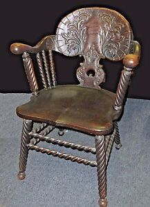 Antique Barley Twist Ornately Carved Wood Accent Arm Chair