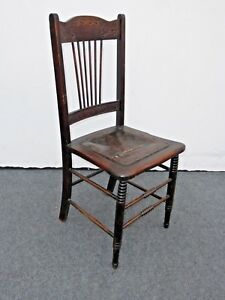 Unique Antique Carved Rustic Farmhouse Wood Side Chair W Leather Seat