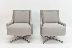 Pair Of Barbara Barry For Hbf Furniture Scoop Swivel Lounge Chairs