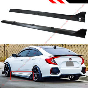 For 2016 2019 Honda Civic 4dr Sedan Fk8 Type R Style Black Side Skirt Extension
