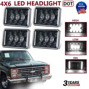 4x Dot Approved 4x6 Sealed Beam Led Headlight For Chevy Pickup Truck 81 87 Ford