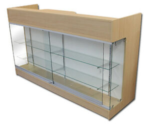 Ledgetop 6 Sales Reception Showcase Counter Knockdown Display Case Maple New