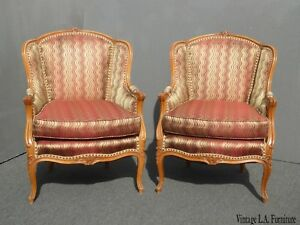 Pair Of Vintage Red French Carved Solid Wood Accent Arm Chairs Shimmery Fabric