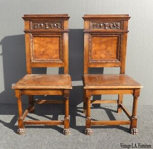 Pair Of Antique Ornate Carved Burl Wood Veneer Accent Chairs Claw Feet