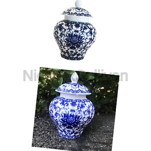 Ancient Chinese Style Blue And White Porcelain Helmet Shaped Temple Jar Smal