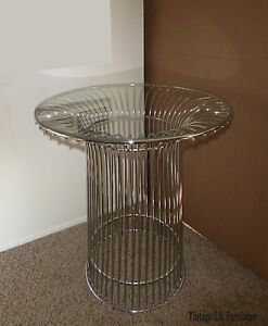 Vintage Mid Century Modern Platner Reproduction Chrome Table Base