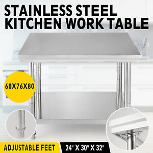 24x30 Stainless Steel Kitchen Work Table Prep Bench Tables Restaurant Storage