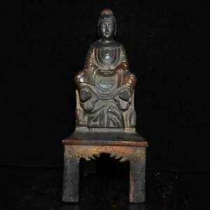 10 China Old Antique Copper Handmade Bench Buddha Statue