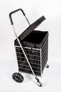 Primetrendz Pt5614 Grocery Laundry Utility Shopping Cart With Water Proof Black