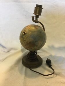 Antique 6 Terrestrial Globe On Brass Lamp Weber Costello Co Early 1900 S