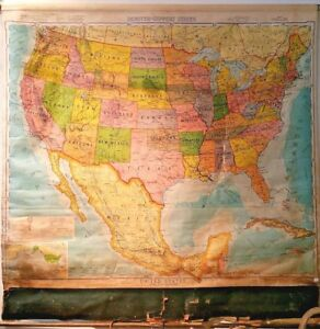 Antique 1940 Denoyer Geppert Co United States Usa Large Pull Down Wall Map