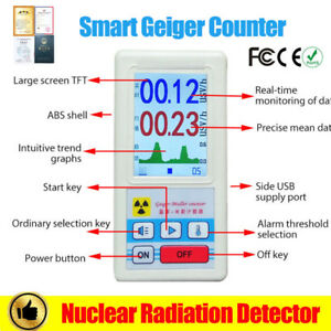 Geiger Counter Nuclear Radiation Detector Gm Tube Beta Gamma X ray Dosimeter Too
