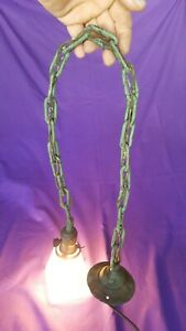 Antique Arts And Crafts Copper Pendant With Frosted Shade