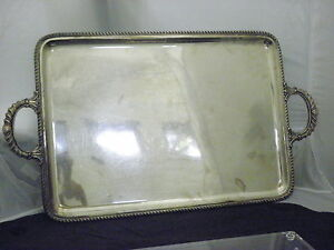 Antique St Silver 800 Extra Large Handled Tray 27 X 15 5 Inch