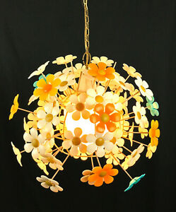 Vintage 1960 S Swag Hanging Flower Daisy Ceiling Light Fixture Lamp