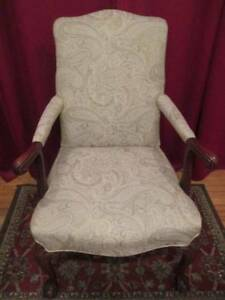 Chippendale Style Solid Mahogany Pair Ball Claw Open Arm Chair