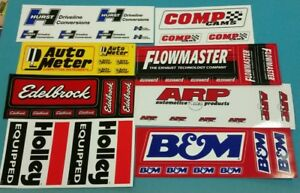 Flowmaster B M Arp Holley Edelbrock Hurst Comp Cams Racing Decals Sticker Sheets