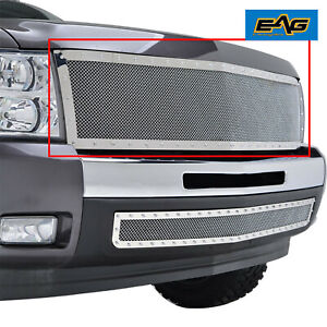Eag Fit 07 13 Chevy Silverado Front Hood Chrome Ss Wire Mesh Replace Rivet Grill