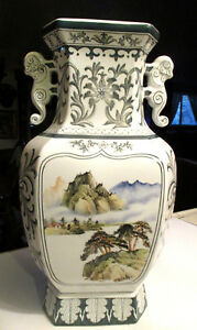 Antique 18 Tall Chinese Porcelain Double Handled Hand Painted Landscape Vase