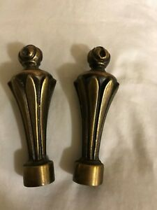 Pair 2 Vintage Brass Long Shaped Finial Top Lamp Chandelier Topper 3 1 2