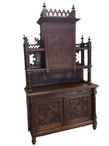 Tall Impressive Antique French Gothic Cabinet 19th Century Walnut