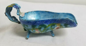 Antique Chinese Enamel On Copper Archaic Ritual Bronze Form Yi Vase As Is