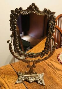 Antique Brass Frame Free Standing Mirror 16 Tall French Provincial Solid Wow