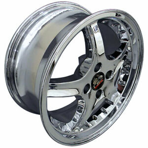 Chrome 17 Rim W Rivets Mustang Cobra R Deep Dish Style Wheel 17x8