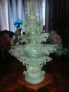 Antique 16 Jade Finely Carved Ornate Openwork 31 Rings Chinese Incense Burner