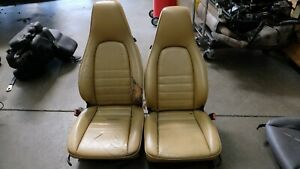 Porsche 911 964 Carrera 4 Way Powered Tan Leather Seats Pair Core To Recover