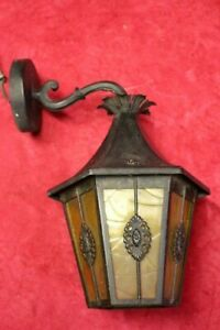 French Vintage Brass Victorian Lantern Hanging Wall Lamp With Glass 1 Light