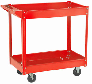 Two Shelf Steel Service Cart 30 In X 16 In 220 Lbs Load Capacity