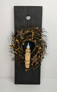 Primitive Black And Mustard Pip Berry Wreath Candle Board Taper Holder W Candle