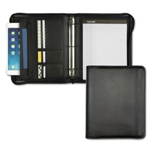 Professional Zippered Pad Holder ring Binder Pockets Writing Pad Vinyl Black