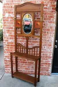 Antique Arts Crafts Oak Wood Entryway Hall Tree Stand Coat Rack With Mirror