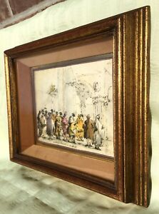 Mid Century Italy Gold Shadow Box Carved Heavy Picture Frame Rembrandt Print