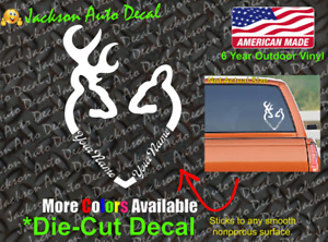 Browning Deer Kiss Heart Personalized Buck Doe Bumper Sticker Car Window Decal
