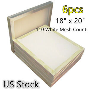 Us 6pcs 18 X 20 aluminum Screen Printing Screens With 110 White Mesh Count