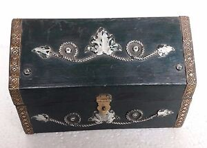 Vintage Old Design Wooden Storage Trinket Jewelry Box Chest Home Decorative Art