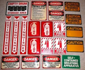 21 Lot Safety Sign Collection Fire Extinguisher Caution Warning Osha Man Cave