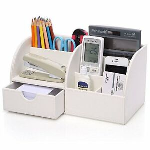 Office Stationery Storage Box Desk Supplies Organizer White Drawer Faux Leather