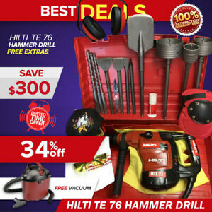 Hilti Te 76 Hammer Drill Preowned Free Vacuum Cleaner Bits Extras fast Ship