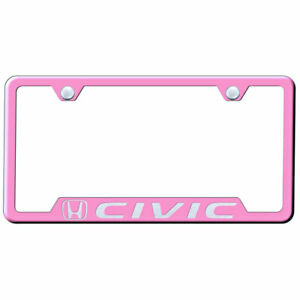 Cut out License Plate Frame With Honda Civic On Pink officially Licensed